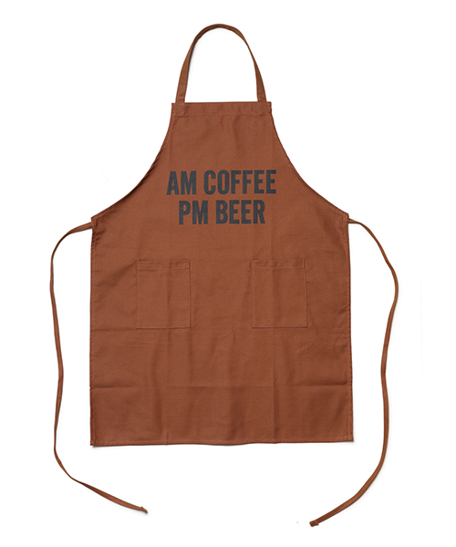 "DRESSSEN / DAY USE W POCKET APRON(BROWN)""AM COFFEE PM BEER"""